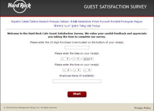 Hard Rock Customer Survey