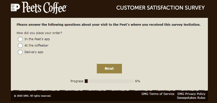 Peet's Coffee Satisfaction Survey